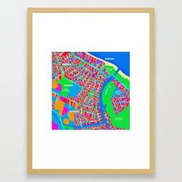 Kailua, Oahu Map Graphic Framed Art Print