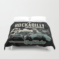 rockabilly Duvet Covers featuring Rockabilly Rebel Rules by Nano Barbero