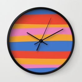 Groovy Stripes Irregular Stripe Pattern in Mustard, Red, Blue, and Pink Wall Clock