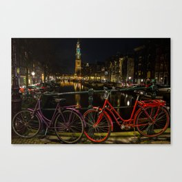 Amsterdam Bikes and Canal at Night Canvas Print