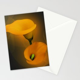 Calla Lily Warm Yellow Mist Background Stationery Cards