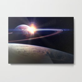 Ambesonne Galaxy Tapestry, Sunset in Outer Space Universe Saturn View from Planet Earth Metal Print