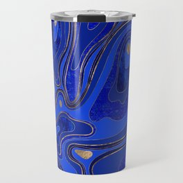 Marble Map - blue and gold Travel Mug