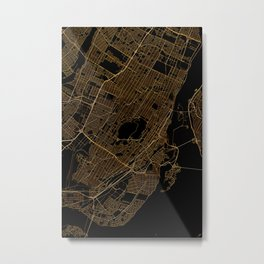 Black and gold Montreal map Metal Print
