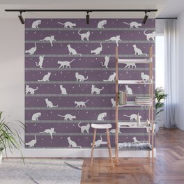 Cats Pattern (purple) Wall Mural