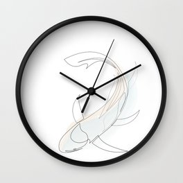 koi - one line fish art with colours Wall Clock