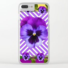 ABSTRACT YELLOW  CONTEMPORARY LILAC PURPLE PANSIES Clear iPhone Case