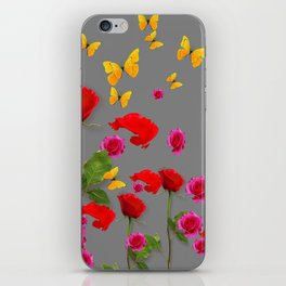 RED &  FUCHSIA PINK ROSES YELLOW BUTTERFLIES ABSTRACT iPhone Skin