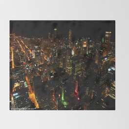 Night Skyline from Skydeck #1 (Chicago Architecture Collection) Throw Blanket