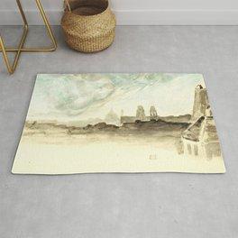 "Eugène Delacroix ""The Roofs of Paris"" Rug"