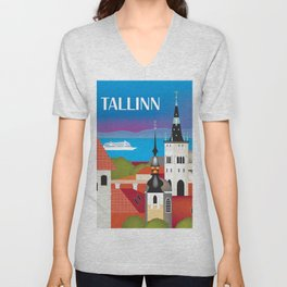 Tallinn, Estonia - Skyline Illustration by Loose Petals Unisex V-Neck