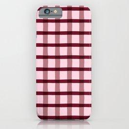 Pink & Burgundy Jagged Edge Plaid iPhone Case