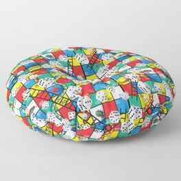 Snake and Ladders Game Pieces Floor Pillow