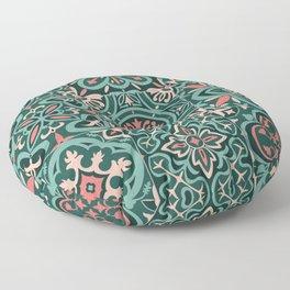 Peranakan Art Nouveau Tiles (Mixed Patterns in Peach Garden) Floor Pillow