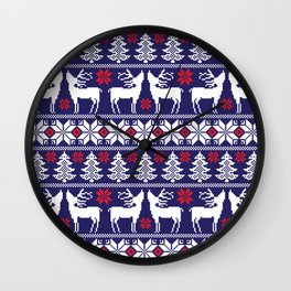 Christmas pixel Blue pattern with xmas tree, snowflakes and deers Wall Clock