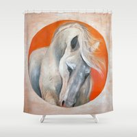 pony Shower Curtains featuring Whoa, Pony! by The Curious Design