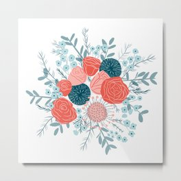 Muted florals on white Metal Print