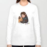 kili Long Sleeve T-shirts featuring Kili and Kitten by Hattie Hedgehog