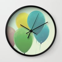 balloons Wall Clocks featuring balloons by Beverly LeFevre