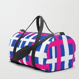 Blue & Pink Interlocking Stripes Duffle Bag