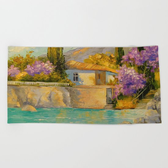Cottage by the sea Beach Towel