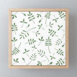 Green Leaves Design on White Framed Mini Art Print