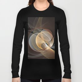 Brown, Beige And Gray Abstract Fractals Art Long Sleeve T-shirt