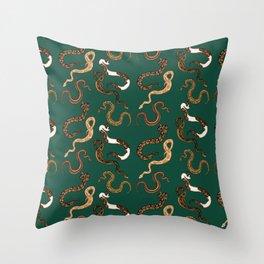 Plenty of Pythons - Emerald Throw Pillow