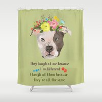 pitbull Shower Curtains featuring Pitbull by Elisandra
