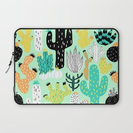 Cactus Crazy in Mint - Large Scale Laptop Sleeve