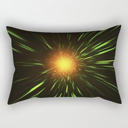 Glowing gold-red shpere with rays of light Rectangular Pillow