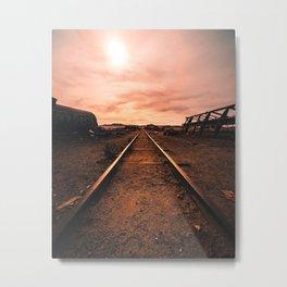 Train Tracks in the Desert Metal Print