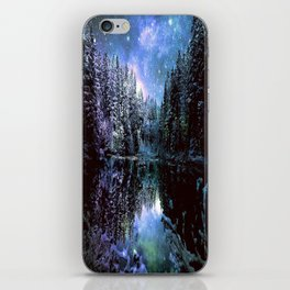 A Cold Winters Night : Violet Teal Green Winter Wonderland iPhone Skin