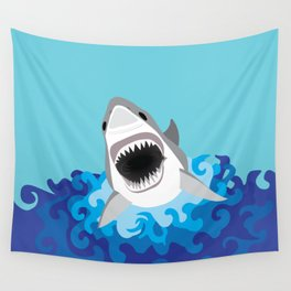 Great White Shark Attack Wall Tapestry