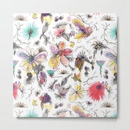 Botanical Sketchbook pattern Metal Print