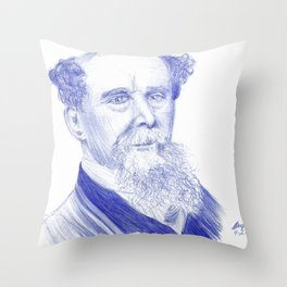 Charles Dickens Portrait In Blue Bic Ink Throw Pillow