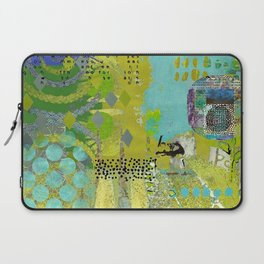 Being Green Abstract Art Collage Laptop Sleeve