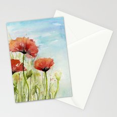 Red Flowers Watercolor Landscape Poppies Poppy Field Stationery Cards