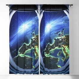 Airplane window with Earth, porthole #4 Blackout Curtain