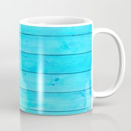 bright cyan blue distressed stained painted wood board wall Coffee Mug