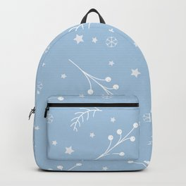Winter Seamless pattern with pine branches, berries and twigs Backpack