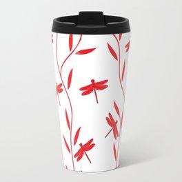 Drawing Vector Nature Red Dragonfly Travel Mug