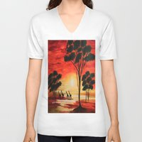 african V-neck T-shirts featuring African sunset by maggs326