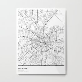 Moscow Simple Map Metal Print