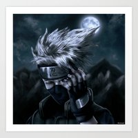 kakashi Art Prints featuring Kakashi rinnegan eye by Shibuz4