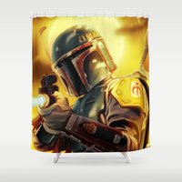 boba Shower Curtains featuring Boba Fett by Andre Horton