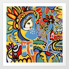 Inca King Graffiti Art by Emmanuel Signorino  Art Print