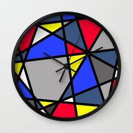 Triangels Geometric Lines blue - red - yellow - grey Wall Clock