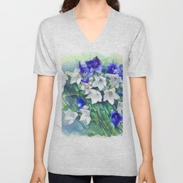 Campanula watercolor flowers, aquarelle bellflowers Unisex V-Neck