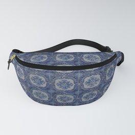 Vintage blue ceramic tiles pattern Fanny Pack